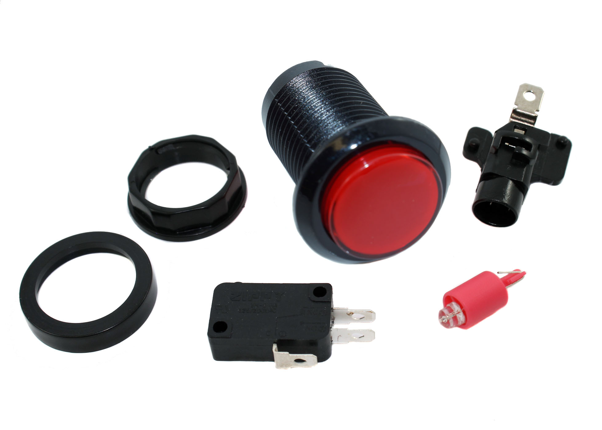Red LED Pushbutton - Black Bezel