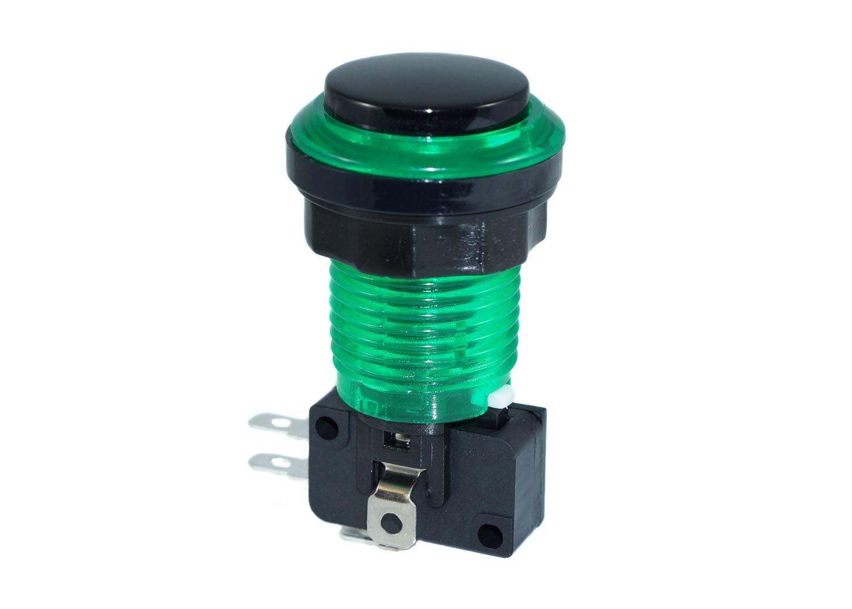 Green LED Bezel Eclipse Pushbutton - Black Plunger
